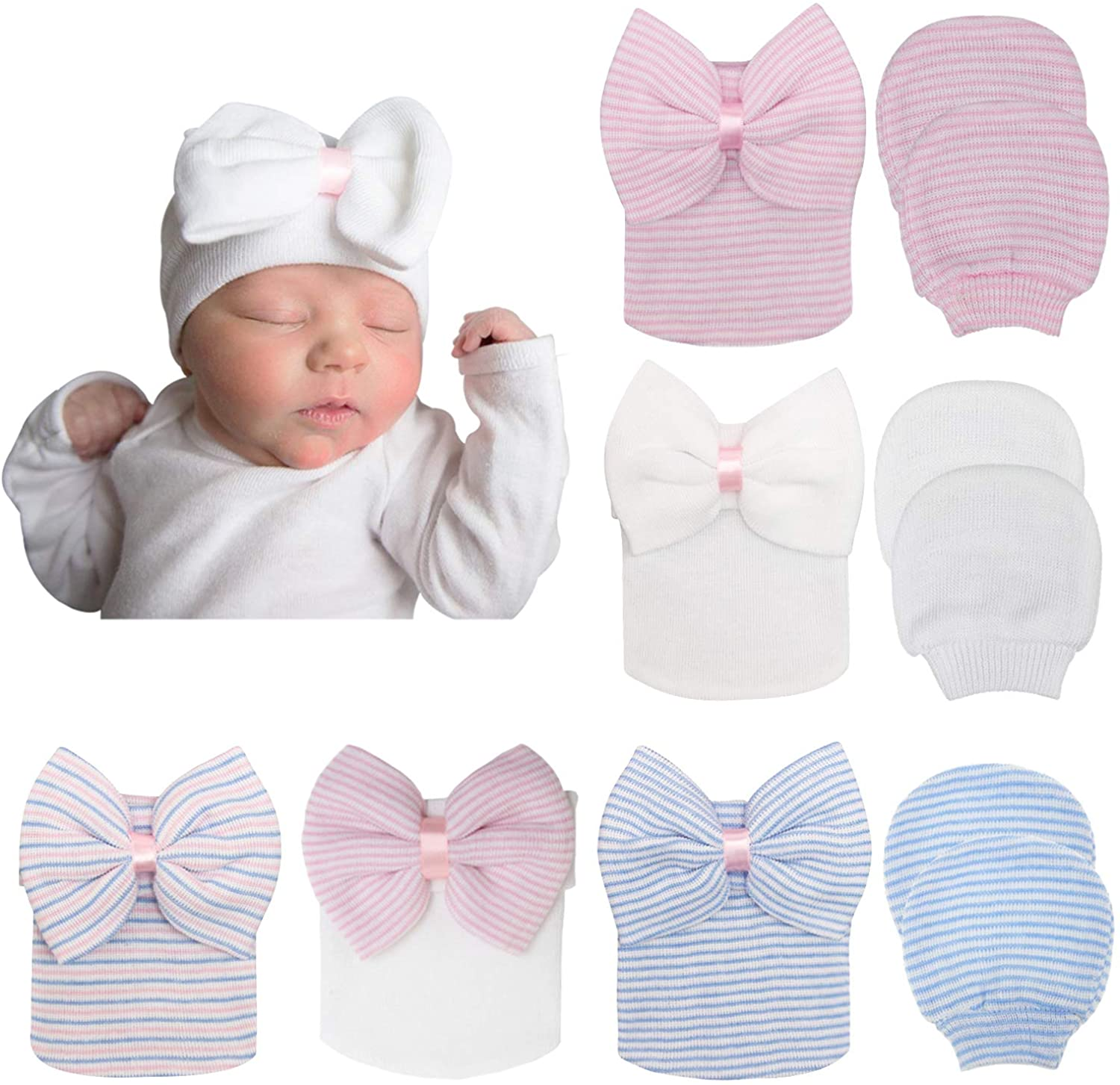 BQUBO Newborn Baby Caps Mittens for Baby Girls Set Hospital Hat Beanie Infant Hats with bow Baby Scratch Mitten Gloves: Clothing