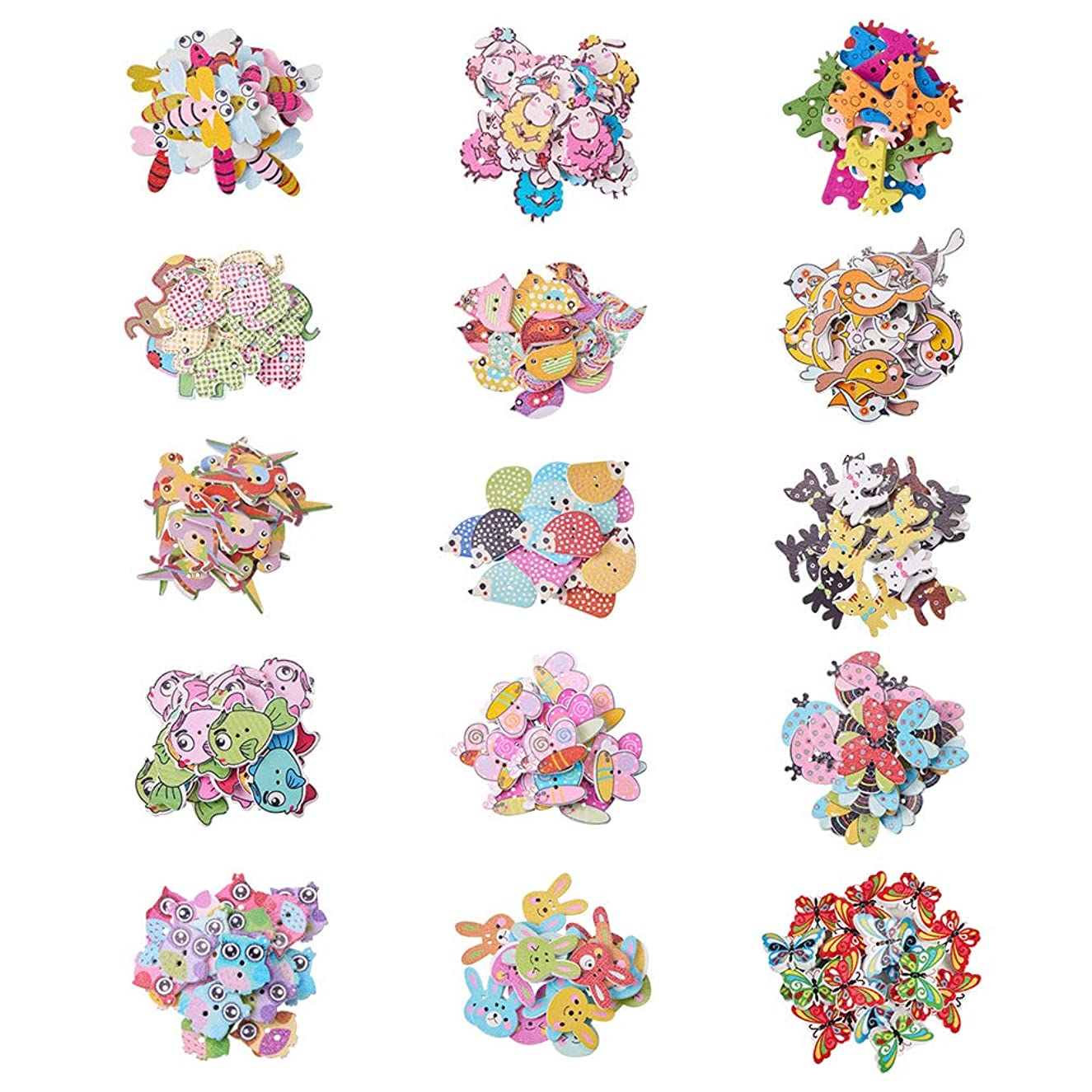 PandaHall Elite 300 Pcs Wooden Cartoon Animal Buttons with 2 Hole 15 Styles for Sewing Scrapbooking and DIY Handmade Craft Assorted Design