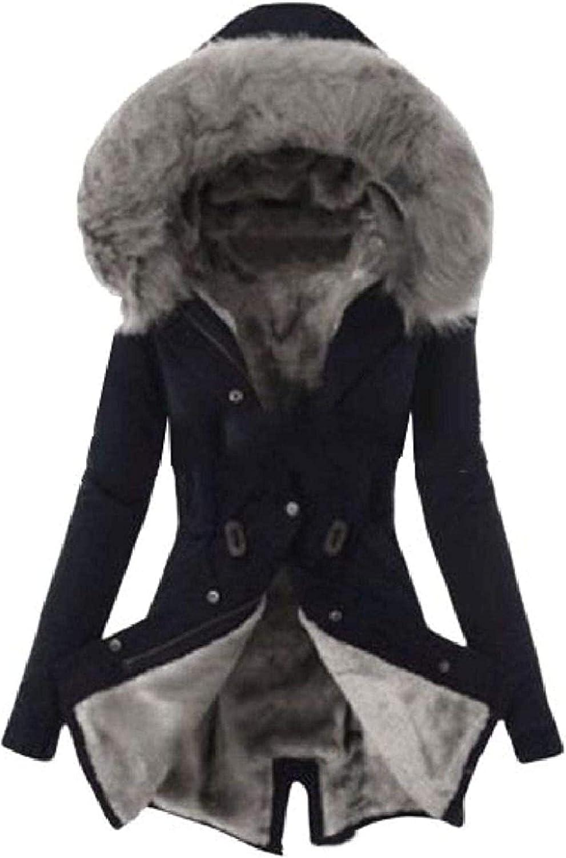 Women Coat Fleece Lined Outdoor Hooded Faux Fur Warm Down Jackets,1,XX-Large