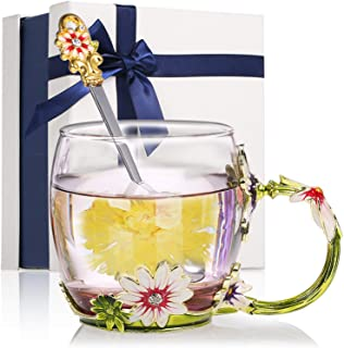 Decdeal Flower Tea Cup, Enamel Craft Glass Coffee Mugs Lead-Free Drink Mug with Spoon&Cleaning Cloth&Gift Box,Personalised...
