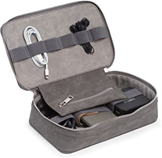 Gray Leatherette Tech Electronics Accessories Carry Organizer Travel Case