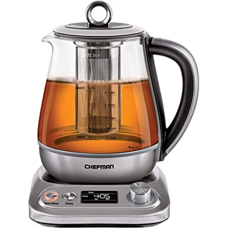 Chefman Electric Glass Kettle Fast Boiling Water Heater w// Auto Shutoff