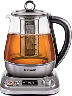 Chefman PerfecTea Programmable Electric Glass Kettle w/Temperature Control & 8 Preset Steep Times Auto Shut Off, Removeable Tea Infuser Included, 6+ Cup Capacity, 1.5 L, Stainless Steel