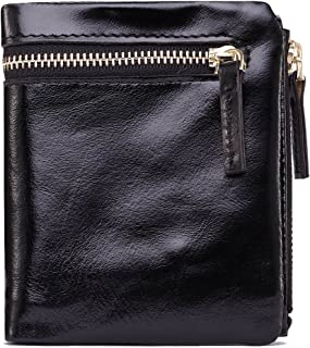 Genuine Leather Oil Wax Short Lady Wallet Zipper Coin Purse