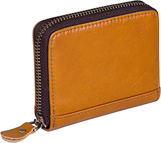 Augus Women's Genuine Leather Wallet RFID Blocking Spacious Zipper Card Wallet Small Purse