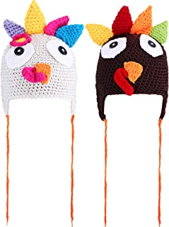 2 Pieces Thanksgiving Hats Turkey Knitted Hat Crochet Beanie Cap with Pigtail Braids for Baby Kids, 2 Colors