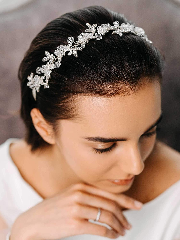 AW BRIDAL Wedding Headpiece for Bride Rhinestone Bridal Headband Hair Vine Bridal Hair Accessories for Women (Silver)