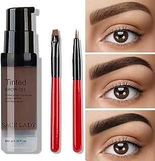 SACE LADY Waterproof Eyebrow Gel Corrector kit, Long Lasting Intense Henna Brow Color Pomade Cream with Eyebrow Brush,6ml/0.20Fl Oz (04. Dark Grey)
