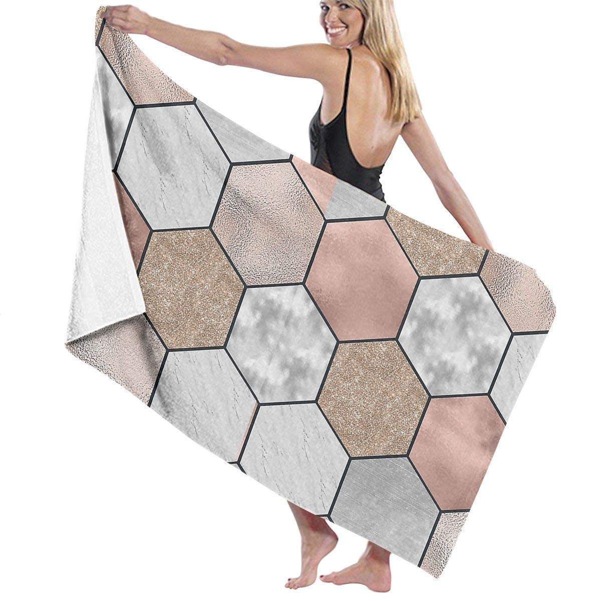 Biooker Bath Towel Gentle Rose Gold and Marble Hexagons Adult Microfiber Beach Towel Oversized 31x51 Inch Highly Absorbent Multipurpose Use Bath Sheet for Gym Beach SWM Spa