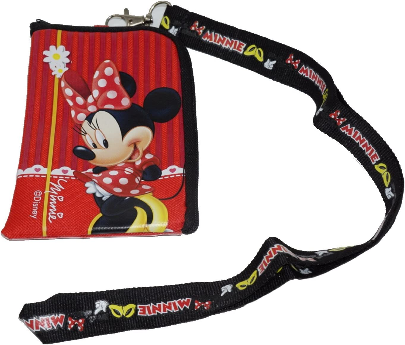 Disney Minnie Mouse Red Lanyard with Cell Phone Case or Coin Purse Pouch