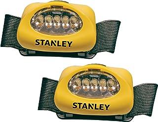 STANLEY HL2PKS Hands Free LED Headlamp Flashlight with Adjustable Headband, Alkaline Battery Powered, 2 Pack