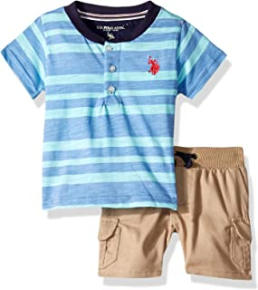 U.S. Polo Assn. Baby-Boys 2 Piece Short Sleeve Henley T-Shirt and Twill Short Set Shorts Set - Blue