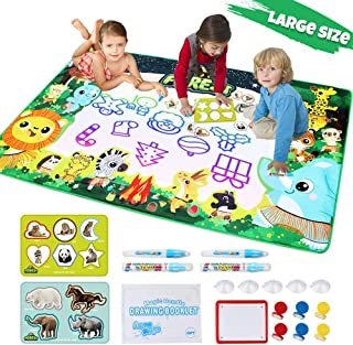 Lefree Aqua Magic Mat Extra Large Size Water Doodle Mat Set 59 X 35.4in, Kids Painting,7 Vibrant Aqua Magic Colors Educational Drawing Mat Toddlers Toys with Pens,Gift for Boys, Girls, Age1-12