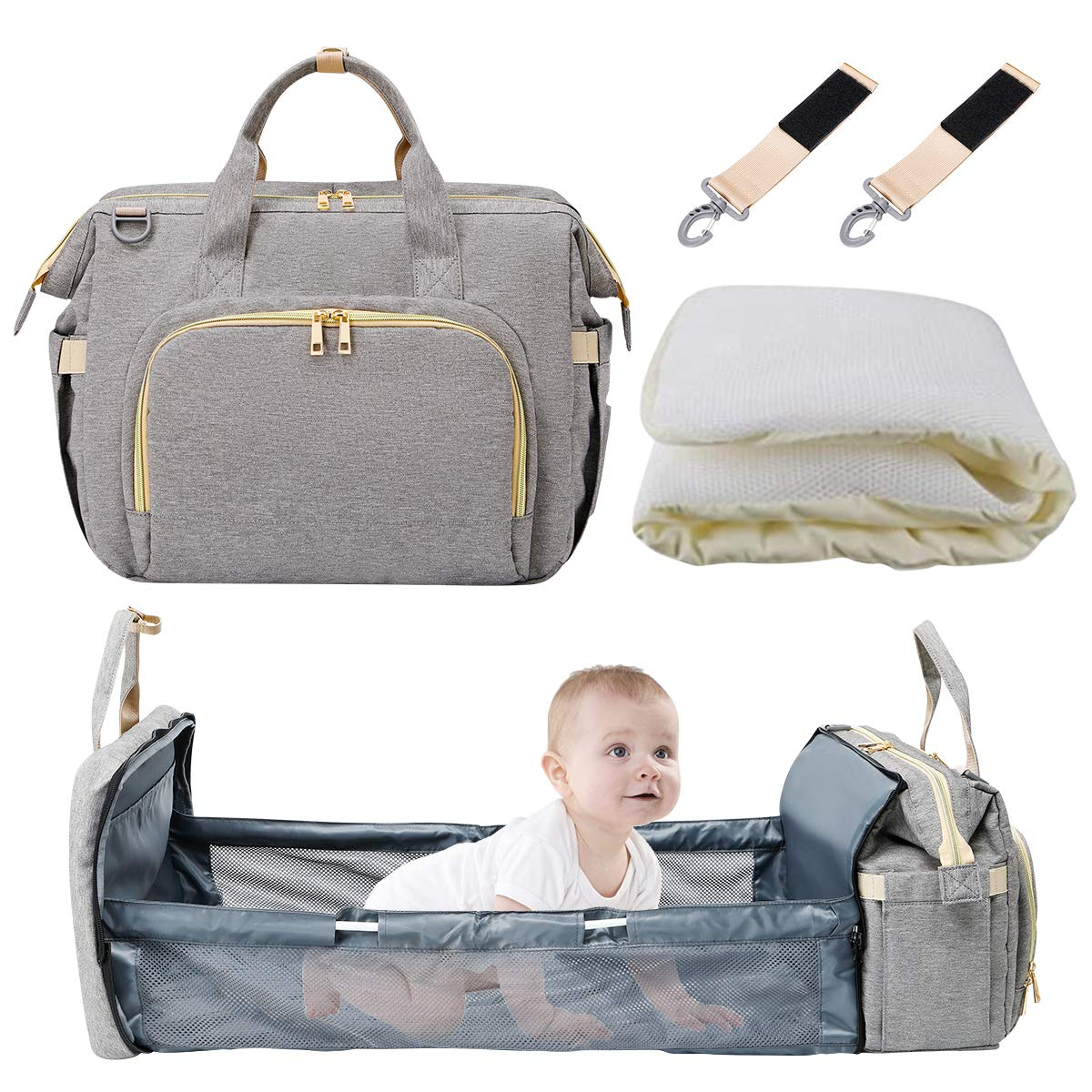 Diaper Bag Backpack Waterproof with Folding Crib, Taykoo Large Multi-Functional Travel Mommy Bag with Stroller Straps & Insulated Pocket & Diapers Changing Cushion (Horizontal Grey)