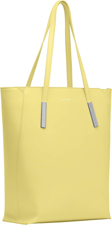 Maison Héroïne Marta 13'' | Sac à main | Sac à main | Sac pour ordinateur portable | Cuir Citron Vert-citron Brillant/Argenté.