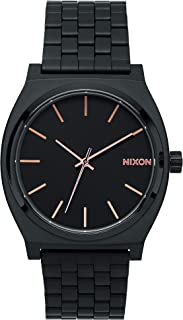 Nixon Time Teller A045. Reloj resistente al agua - 100 metros (reloj de acero inoxidable de 1.457 pulgadas/ 37 mm), The Time Teller, talla única , Negro/Oro rosa