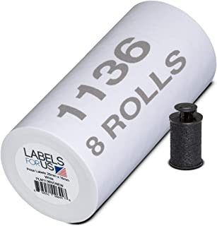 Labels for Monarch 1136 Labeler - White - 14,000 Labels - Pack with 8 Rolls - Ink Roller Included - Manufactured by Labels...