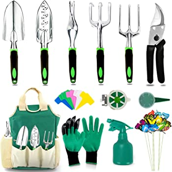 AOKIWO Garden Tools Set, Heavy Duty Aluminum Manual Garden kit Outdoor Gardening Gifts Tools for Men Women