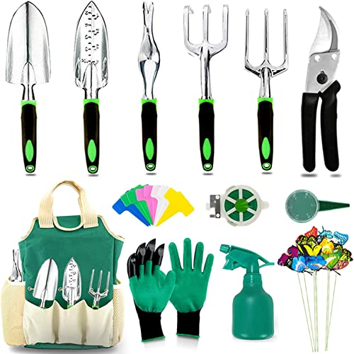 AOKIWO Garden Tools Set, Heavy Duty Aluminum Manual Garden kit Outdoor Gardening Gifts Tools for Men Women