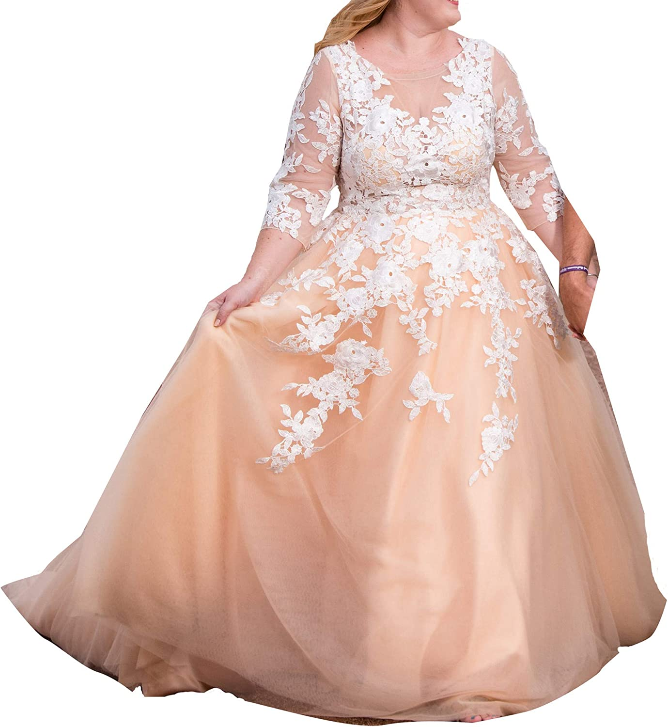 iluckin Casual Boho Sexy Women's A Beauty products Lace Line Neck Wedding Be super welcome Dres V