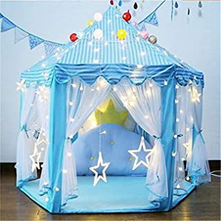 Mumoo Bear Princess Castle Play House Game Tent with Star Lights for Girls Indoor Outdoor Toy Birthday Gift for Girls Blue