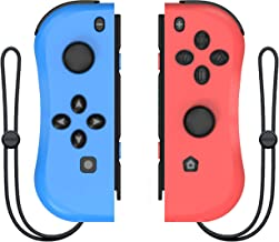 DELAM Joy Con Controller Replacement for Nintendo Switch, L/R Joycon Pad with Wrist Strap, Alternatives for Nintendo Switch Controllers, Wired/Wireless Switch Remotes - Red and Blue