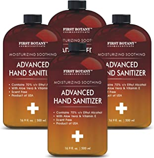 Hand Sanitizing Gel 70 Percent - (4 PACK X 16.9 OZ) Infused with Aloe Vera Gel & Vitamin E Unscented