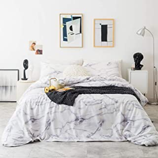 SUSYBAO 3 Piece Duvet Cover Set 100% Cotton Queen Size White Marble Bedding Set 1 Geometric Duvet Cover with Zipper Ties 2 Pillowcases Luxury Quailty Soft Comfortable Machine Washable