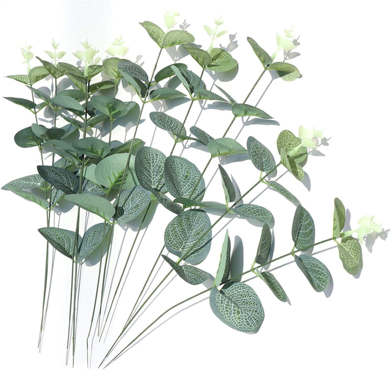 10pcs Artificial Eucalyptus Leaves Dried Silver Dollar Eucalyptus Garland Branches Stems for Flower Bouquet Centerpiece Wedding Bouquet Home Decor