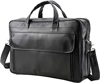 VMATE Men's Solid Full Grain Cowhide Leather Large 17 Inch Laptop Briefcase Messenger Bag Tote(Black)