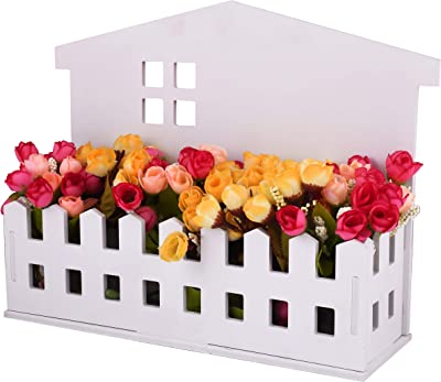 TIED RIBBONS Artificial Flowers with Pot (Multicolour, 1 Hut Shape Planter With Flowers, 1 Led Light String)