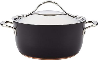Anolon Nouvelle Copper Luxe Hard Anodized Nonstick Casserole Dish/ Casserole Pan / Dutch Oven with Lid - 5 Quart, Onyx