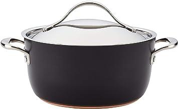Anolon Nouvelle Copper Luxe Hard Anodized Nonstick Casserole Dish/Casserole Pan/Dutch Oven with Lid - 5 Quart, Onyx