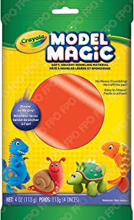 Crayola Model Magic, Neon Red, 4 Ounce No-Mess, Soft, Squishy, Lightweight Modeling Material For Kids 4 & Up, Easy to Paint and Decorate, Air Dries Smooth - 57-6001-0-091