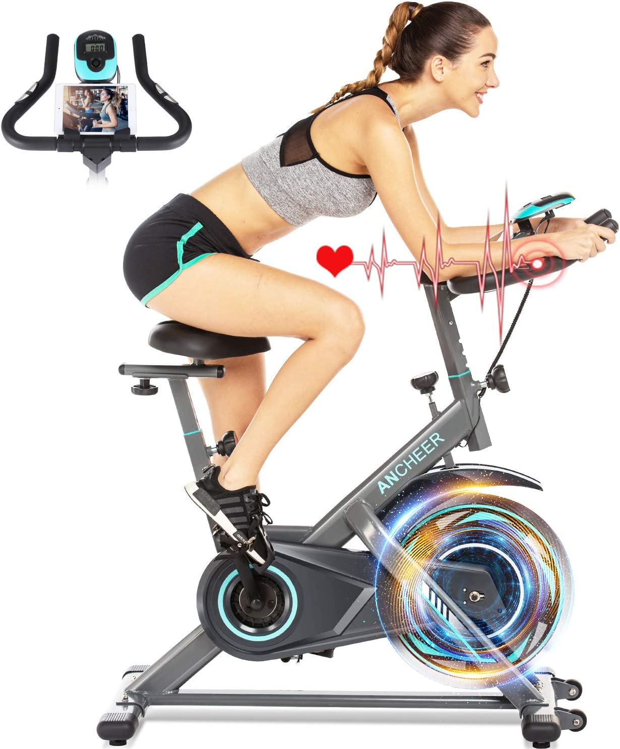 ANCHEER Exercise Bike, Indoor Cycling Bike Stationary with Heart