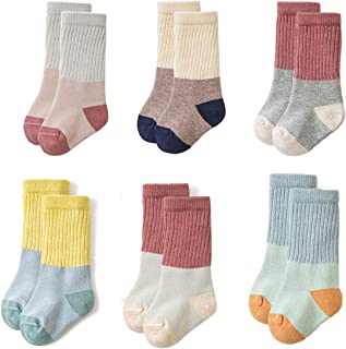 Toddler Baby Boys Girls Socks - Combed Cotton Crew Socks for Baby Gifts Pack