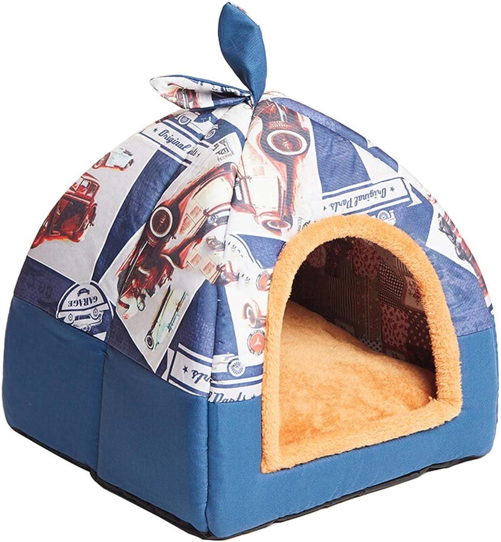 Hanshu 2 in 1 Pet House and Sofa Indoor Soft Warm Washable Igloo Pyramid Cat Dog Beds,(bluee Car, S)