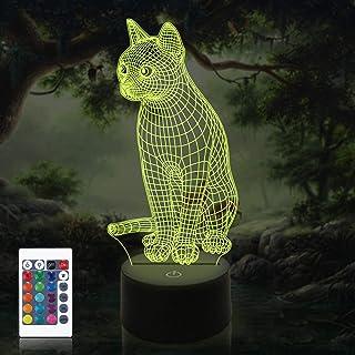 Lámpara de ilusión 3D para mascotas y gatos, luz nocturna al lado de la lámpara de mesa, Coopark, 16 colores, cambio automático, interruptor táctil, decoración, lámparas con control remoto