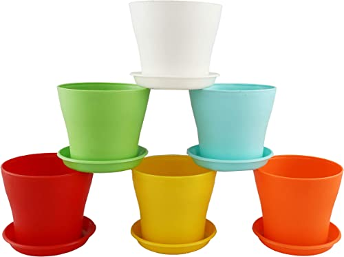 "Kraft Seeds 6 Pcs 6"" Plastic Plant Flower Seedlings Nursery Pot/Pots Planter Colourful Flower Plant Container Seed St..."