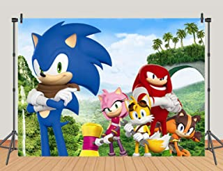 Cartoon Sonic Boom Theme Photography Backdrops Hero Sonic Photo Background for Kids Birthday Party Decoration Baby Shower Cake Table Banner Studio Props Vinyl 7x5ft