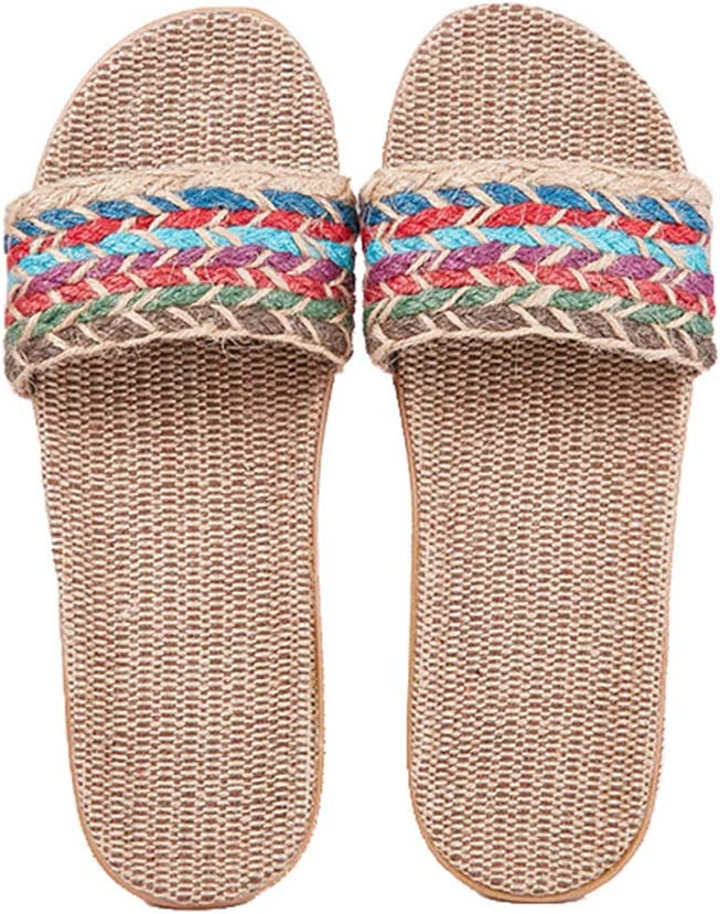 Max 90% OFF Slippers for Womens Flax Fabric Breathable Woven Sandal