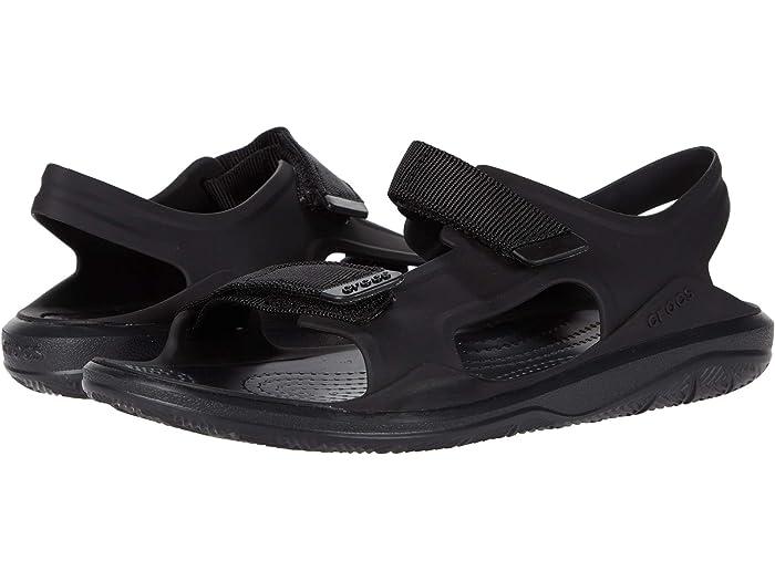 Crocs Mens Swiftwater Leather Slide Open Toe Sandals