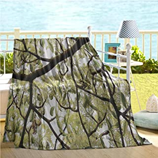 Mademai Farmhouse Throw Blanket,Dogwood Tree Seeds Bonsai Art Decorations Home Accessories Nature Lover Bright Sky Digital Print,Cooling Blanket Green Brown Off White 60