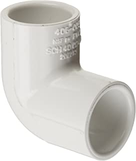 """Spears 406 Series PVC Pipe Fitting, 90 Degree Elbow, Schedule 40, White, 2-1/2"""" Socket"""