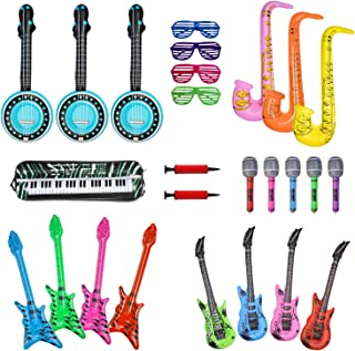 24 Inflatable Rock Star Toy Set,Inflatable Party Props,Inflatable Guitar,Microphones,Shading Glasses,Saxophone, Inflatable Keyboard Piano etc Inflatable Instrumen Toys for Concert Party Favors