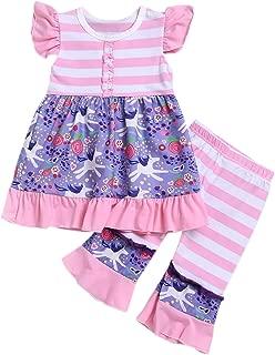 2Pcs Set Toddler Kids Outfit Unicorn Ruffle Sleeveless Top+Leggings Pants Summer Clothes (1-6 Years)