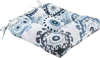 Printed Medallion 3M Scotchgard Outdoor Seat Cushion 20x20x3/Indigo/Blue