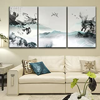 wall26-3 Panel Canvas Wall Art - Chinese Ink Painting Style Landscape with Dragon-Like Ink Splash - Giclee Print Gallery Wrap Modern Home Decor Ready to Hang - 24