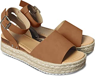 Women's Flatform Espadrilles Ankle Strap Buckle Open Toe Faux Leather Studded Wedge Summer Sandals
