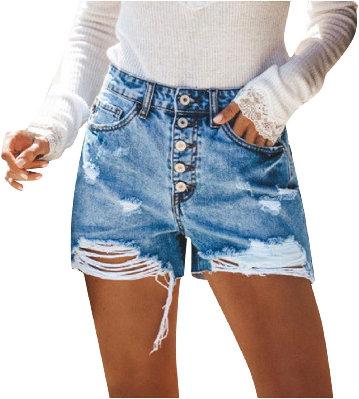 Denim Shorts for Women,Denim Shorts for Women High Waist Frayed Raw Hem Ripped Jeans Shorts